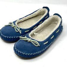 LL BEAN Hearthside Sherpa Lined Blue Suede Moccasin Slippers Women's Sz 6