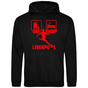 Eat Sleep Liverpool Football Hoodie Kids Mens Adult Unisex Gamer Sports Hoody