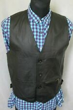 MEN'S 'HUNTING HORSE' REAL LEATHER PADDED VEST GILET BLACK SIZE M / NOT 4XL