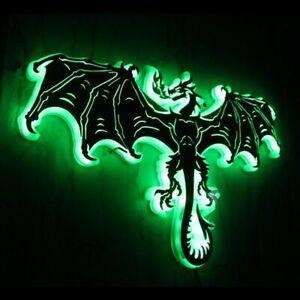 Flying Dragon LED Luminous Wall Mirror Evil Dragon Lamp Glow Dark Color Changing