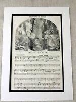 1856 Antico Stampa The Eolian Arpa Vittoriano Music Samuel Taylor Coleridge Poem
