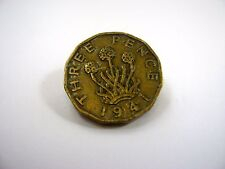 Vintage Collectible Pin: Three Pence 1941 Coin Design