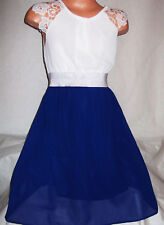 GIRLS WHITE LACE SILVER TRIM ROYAL BLUE CHIFFON CALF LENGTH PARTY DRESS age 3-4