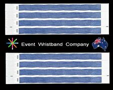 100 x Blue Stripe Tyvek, party, security, wristbands