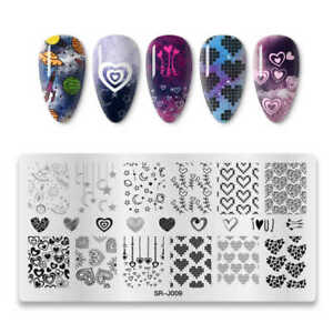 Nail Art Stamping Plate Valentines Day Love Hearts Lace Moon Space Heart (SRJ09)