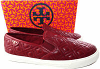 66f7a2b7bce6 Tory Burch JESSE Quilted Slip-On Sneakers Red Agate Leather Shoe Flat Shoe  8.5