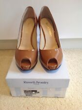 NEW BOXED Russell and Bromley Caramel Patent Leather Peeptoe Platform Shoe 5 38