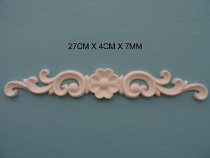 Decorative applique flower on scrolls resin furniture moulding onlay NR37