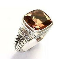 Sterling Silver Square Faceted Citrine & CZ Filigree Size 9 Ring R032110