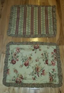 LOT OF 2 Country Curtains floral striped pillow covers shams pink tan buttons
