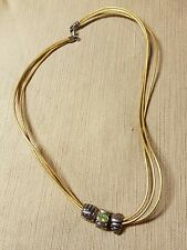 Chamilia sterling and leather necklace with 3 beads