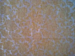 Vintage MCM Brocade Floral Fabric Cut Pieces Mustard Gold Home Dec Drapery
