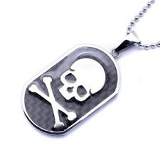 Stainless Steel  Skull Crossbone Dog Tag Charm Pendant, Free Bead Ball Chain