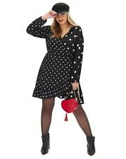 SIMPLY BE Black Mono Spot Wrap Skater Dress UK 20   US 16   EUR 48   (FS47-13)