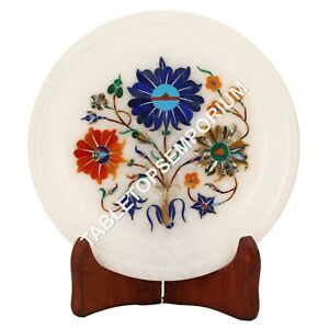 """7"""" Marble Serving Plate Marquetry Inlay Floral Kitchen Black Friday Decor H3573"""