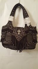 Montana West Brown Western Cowgirl Shoulder Hand Bag Purse with Fringes