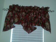 Valance by JC Penney, Deep Dark Red with Ivory Flowers