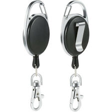 New Stainless Silver Retractable Key Chain Recoil Keyring Heavy Duty Steel UK