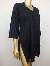 TRACIE ELLIS HOME BLACK LEENA KAFTAN BLOUSE TOP TUNIC SHIRT - 100% COTTON - S -