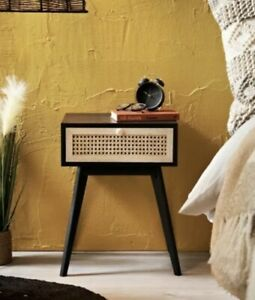 Urban Paradise Bedside Table Vintage Cane Side Table Cabinet Lamp Table Black