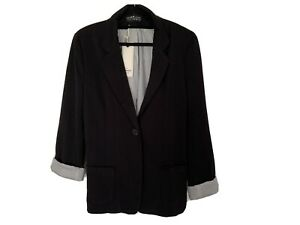 Cotton On Black Blazer Pin Stripe Lining New With Tags Size 14