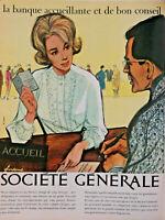 PUBLICITÉ DE PRESSE 1963 BANQUE SOCIÉTÉ GÉNÉRALE ACCUEIL - COURONNE