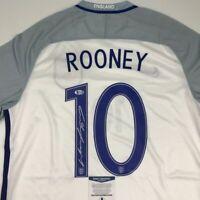 Autographed/Signed WAYNE ROONEY England White Soccer Jersey Beckett BAS COA
