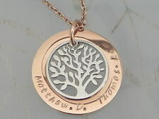 Personalised  Hand Stamped Rose Gold Steel Tree of Life Mothers Day Pendant