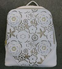 NWT Betsey Johnson Double Entry Backpack, 3D Flowers and Sea Pattern,Bone