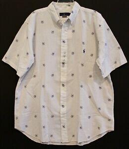 Polo Ralph Lauren Big Tall Mens LT White Anchor Dog S/S Seersucker Shirt NWT LT