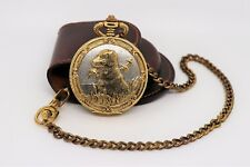 Vintage Hunting Dog and Duck Pocket Watch Majestron Two Tone &  Leather Pouch