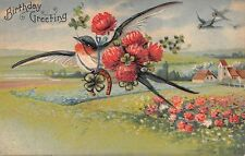 GRE40 Birds, Swallows, Four Leaf Clovers, Birthday Greetings Embossed Postcard