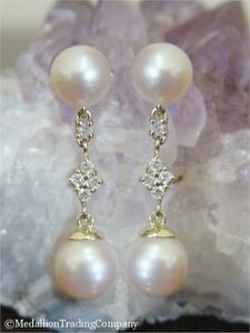 14k Solid Yellow Gold Cream 7mm Round Pearl Diamond Cluster Dangle Drop Earrings