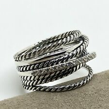 David Yurman Crossover Wide Cable Pave Diamond Ring Size 7