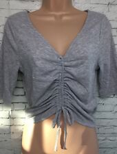 BNWT NEW LOOK 12 Grey Ruche Front Short Sleeve Jersey Rip Crop V Neck Top