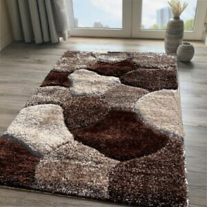 Brown Shaggy Rug Soft Non Shed Polyester Living Room Rugs Natural Bedroom Rugs