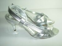 WOMENS SILVER LEATHER SLINGBACK WEDDING COMFORT SANDALS HEELS SHOES SIZE 8 M