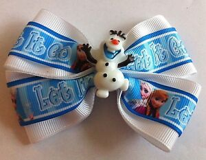 """Girls Hair Bow 4"""" Wide Frozen Olaf Let It Go White Blue Olaf French Barrette"""