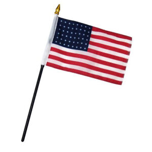 "Historical 48 Star USA American Flag 4""x6"" Desk Table Stick (sewn edges)"