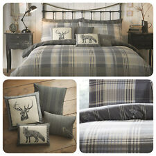 Dreams & Drapes CONNOLLY CHECK 100% Brushed Cotton Duvet Cover Set & Cushions