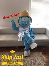 Smurfette Mascot Fancy Character Costume Cartoon Adult Birthday Party Halloween