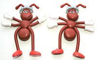 2 Vintage Premium Heinz Ketchup Picnic Ants Promo Bendable Figure NOS 1988