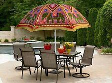 """90 X 70"""" Indian Cotton Sun Umbrella Patio Beach Party Red Outdoor Garden Parasol"""