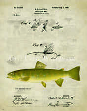 Fly Fishing Patent Poster Art Print Vintage Lures Brown Trout Fish Pole  PAT392