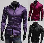 Luxury Mens Silk-Like Satin Long Sleeve Dress Shirts Casual Shirt Tops S M L XL