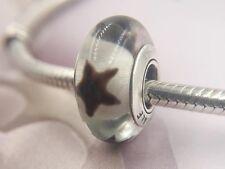 Perfect Gift Genuine Pandora 925 Ale Black Stars Murano Glass Charm-790908