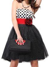 Women's Charm Strapless Red Flower Black Polka Dot Flirty Party Mini Dress, 16