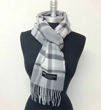 CASHMERE SCARF Made in Scotland SOFT Wool Wrap Plaid Gray Silver⭐️⭐️⭐️⭐️⭐️(30)