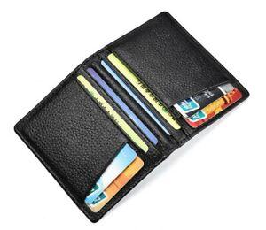 Mens Slim RFID Blocking Bifold Wallet Minimalist Black Credit Card Holder New