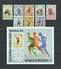 Maldives 1976 Olympic Games SG654-61 + MS662 mnh. Cat.£12+